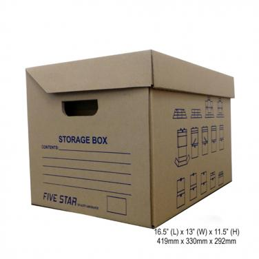 Single wall corrugated paper storage box with logo printing