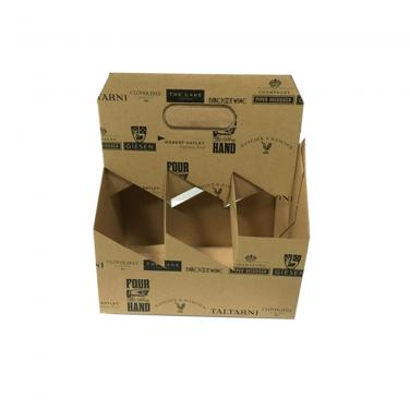 Foldable 6 Pack Wine Kraft Carrier Box