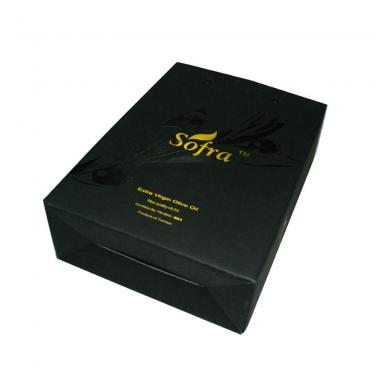 Black Printing Wine Carrier Box With Hot Foil Logo