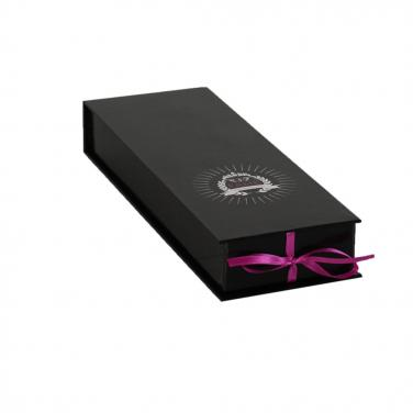 Black Hair Extension Packaging Box With Ribbon Closure
