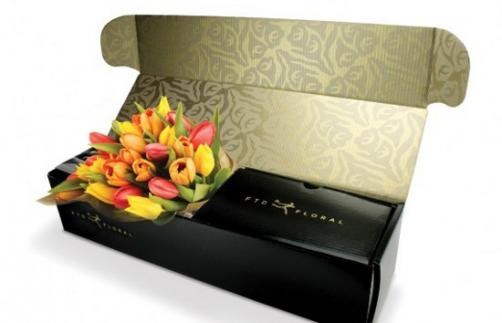 Golden foil printing flower mailer box