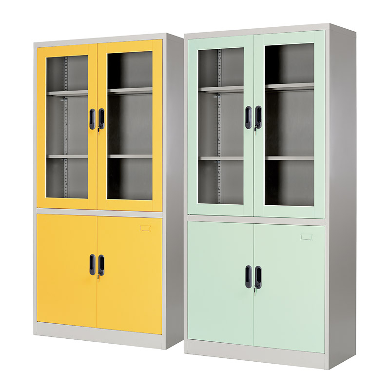 Double-tier glass&metal door cupboard 900*1850mm
