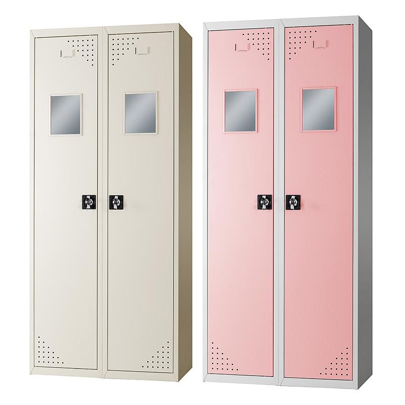 Mirrored double door clothing cabinet