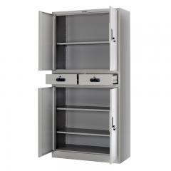 Multi-tier metal swing door cupboard with two drawers 900*1850mm