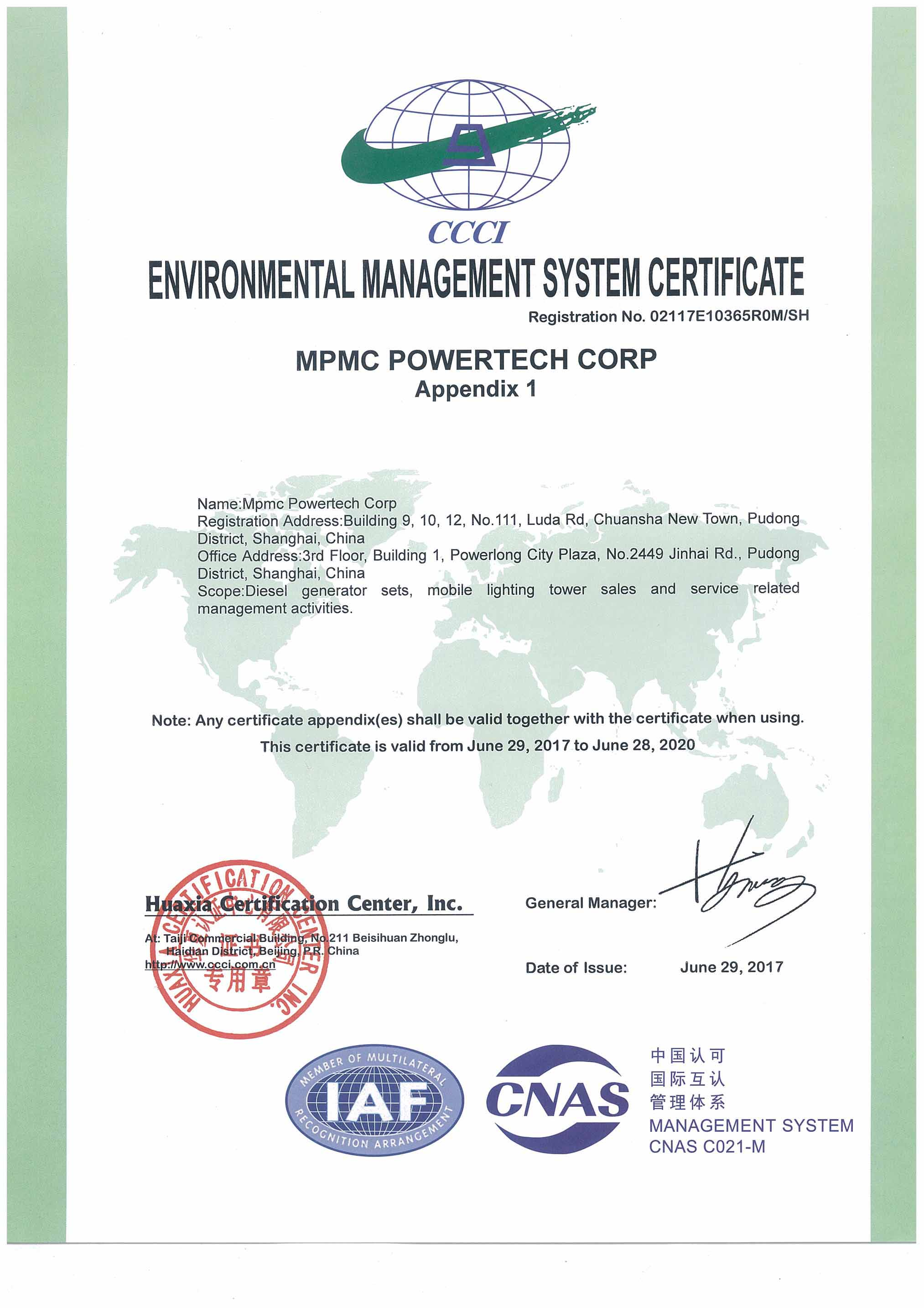 Environmental Management System Certificate Shanghai