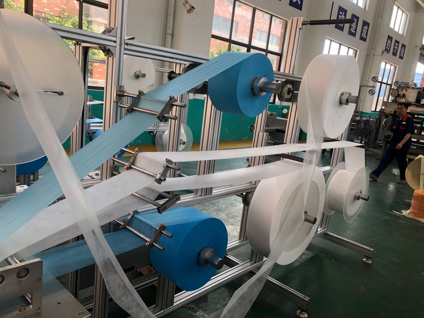 3 Ply flat face mask making machine