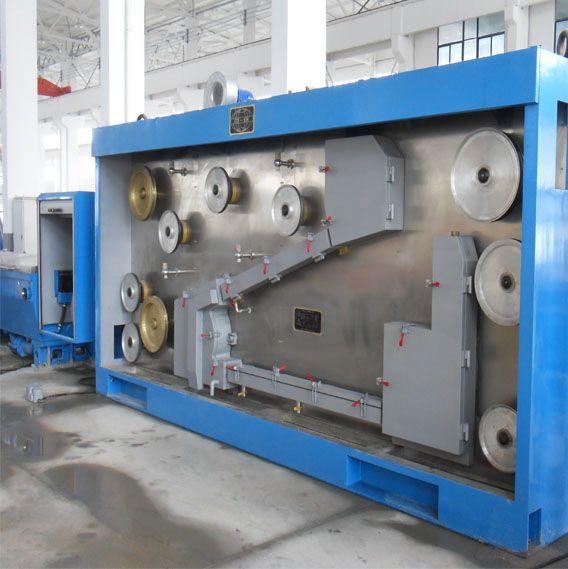 High-speed Copper Rod Breakdown Machine Type LHD-450/13  (with Pneumatic Dual Spooler)