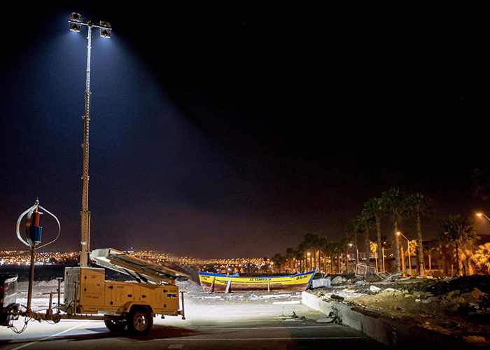 Chile Military Earthquake Relief Used MPMC Solar Light Tower