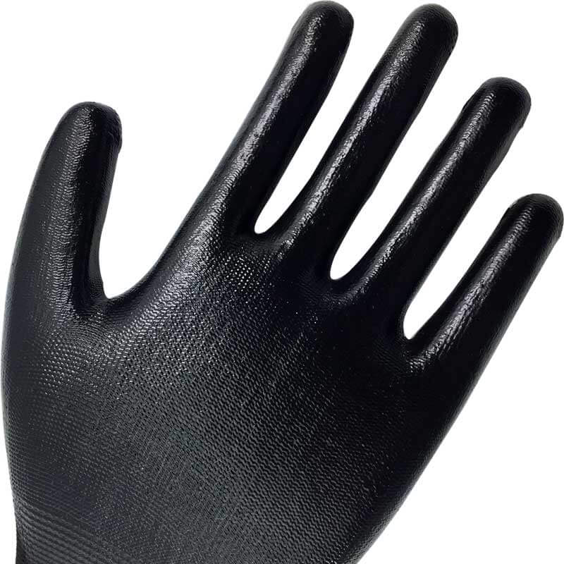 Black Smooth Nitrile Dipped Nylon Palm Work Glove -NY1350-BLK