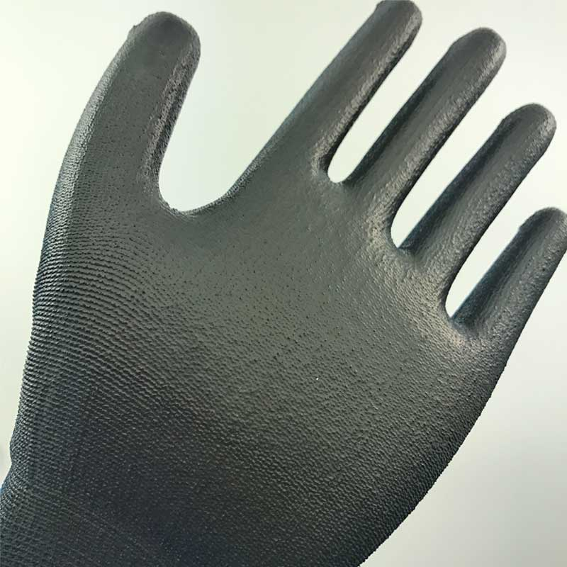 Nylon Knitted Liner Dipping PU Palm Protective Glove- PU1350-NV/BLK