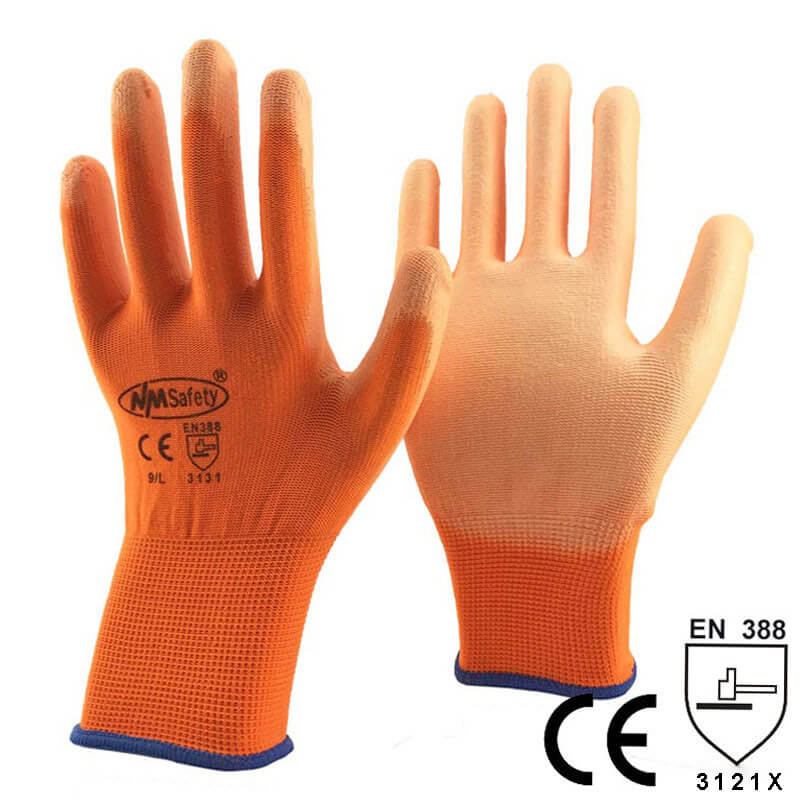 Orange Polyester Kint Garden Work Glove- PU1350P-OR