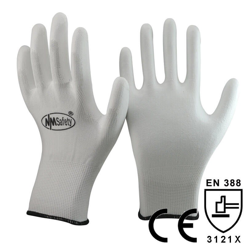 White Polyester Dipping PU Palm Glove- PU1350P-W