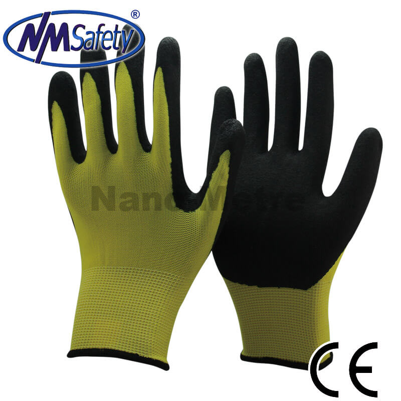 Hi-Viz Yellow Nylon Liner Coated Black Sandy Nitrile Palm Glove -NY1350S-HY/BLK