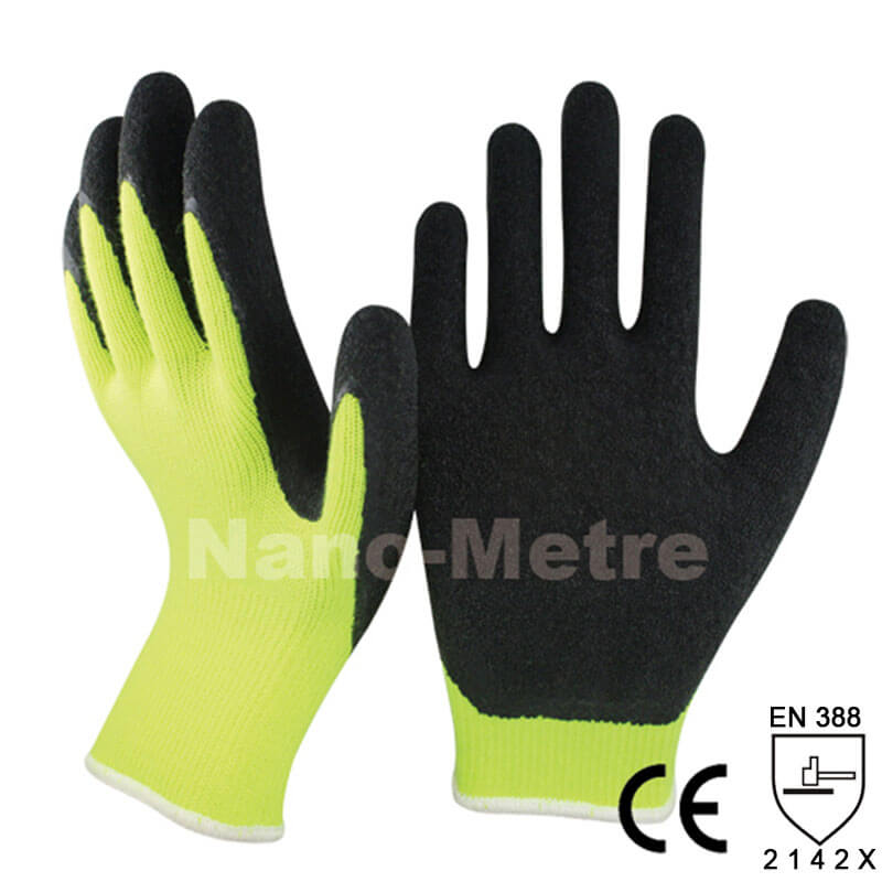 Hi-viz Yellow Polycotton Liner Coated Latex Protective Glove -NM10902-HY/BLK