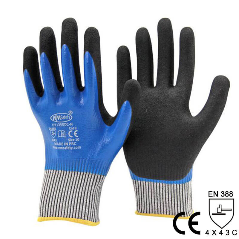 Waterproof and Oilproof Double Nitrile Coated Work Glove  - DY1359DC-B/BLK