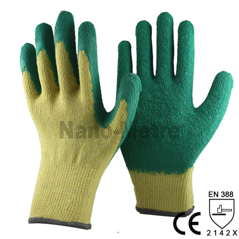 Economic Style Green Latex Dipped Protective Glove -NM10902E-Y/GN