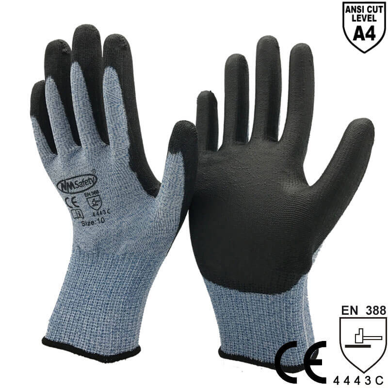 ANSI CUT 4 Blue Cut-Resistant Anti Abrasion Safety Work Glove- DY110-PU-HS
