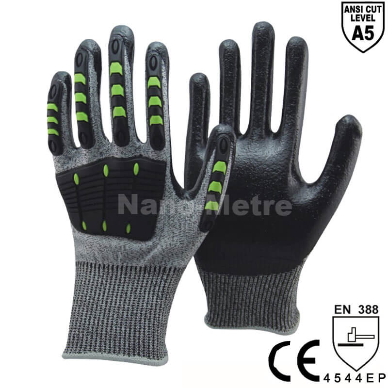 ANSI CUT 5 TPR Anti Vibration Oilproof Safety Glove  -DY1350AC-GR/BLK