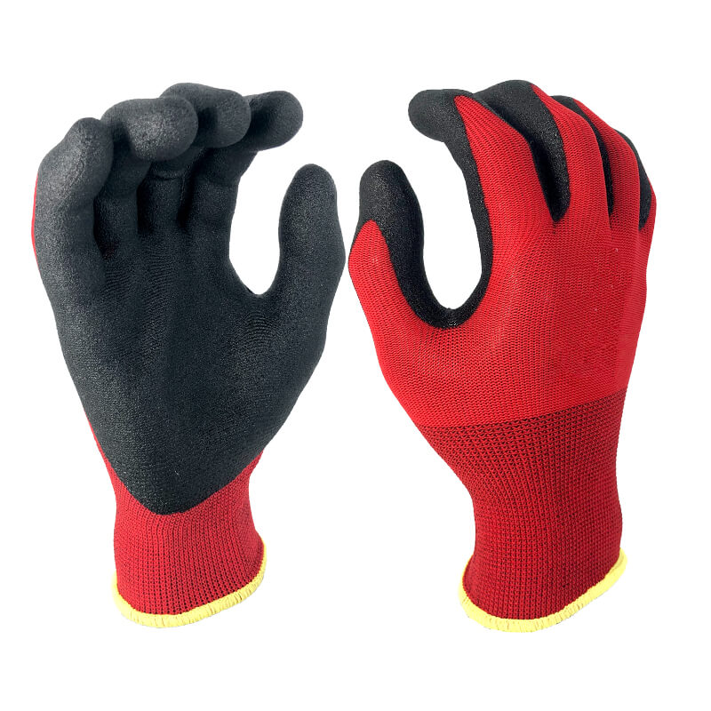 Nylon Liner Coated Foam PVC Glove -PVC1350F-R/BLK