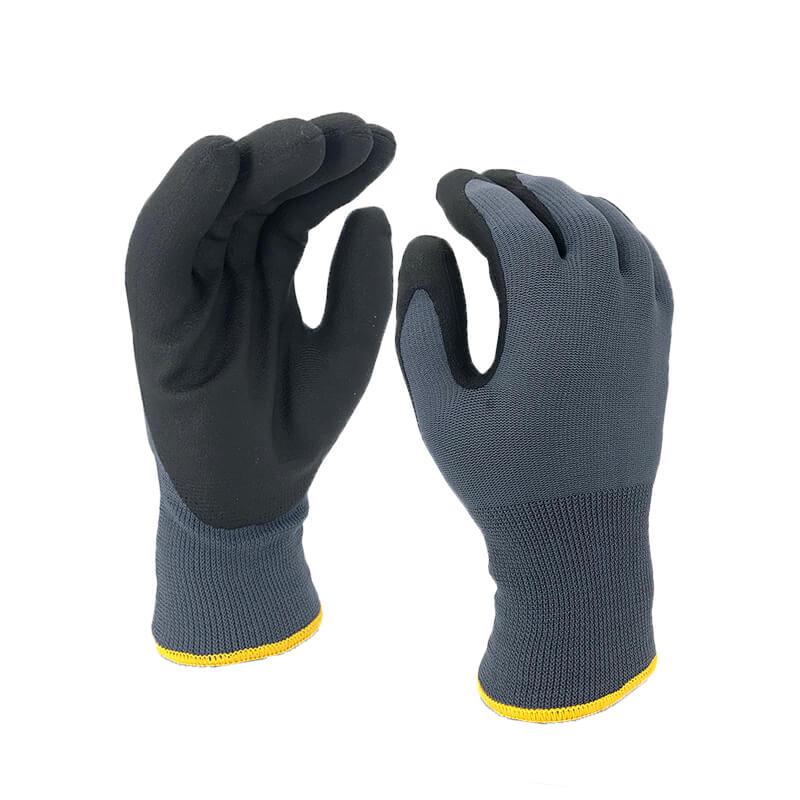 Nappy Liner Coated Foam PVC Glove -PVC1350DS-GR/BLK