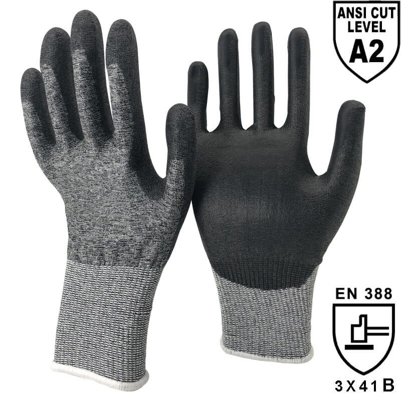 ANSI CUT 2 18 Gauge Soft Thin PU Palm HPPE Anti-Cutting Work Gloves- DY1850PU-H