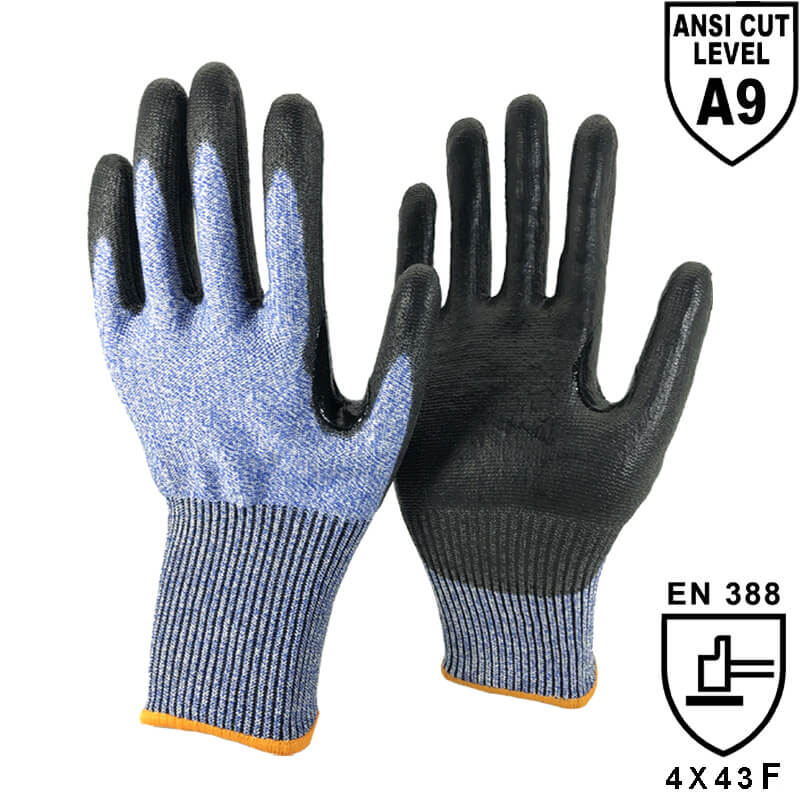 13 Gauge DO-TEX™ Cut Liner Knitted Coated Black PU on Palm Gloves - DY1350F-A9