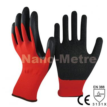 13 Gauge Red Nylon Liner Coated Latex Crinkle Finished On Palm Glove -NM1350-R/BLK