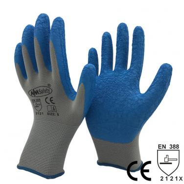 Grey Polyester Dipping Crinkle Latex Construction Safety Gloves - NM1350P-GR/B