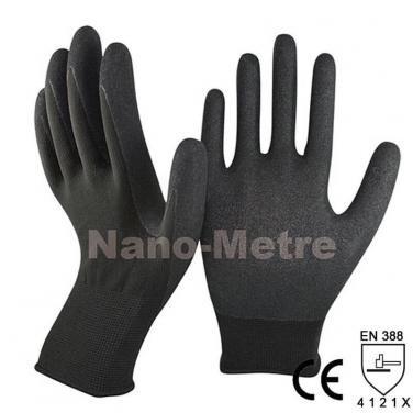 Black Nylon Plam Coated Sandy Nitrile Glove - NY1350S-BLK