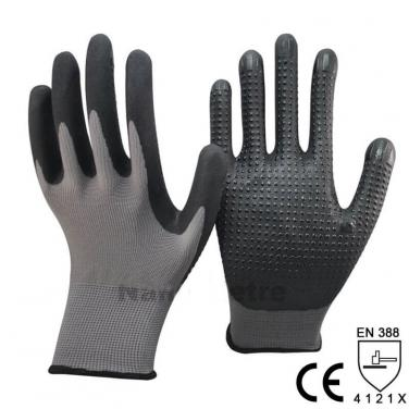 Nitrile Foam With Mini Dots Palm Work Glove -NY1350FD-BLK