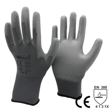 Grey Nylon Coated PU Safety Work Gloves- PU1350-DG