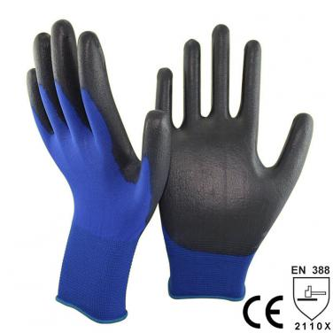 Thin PU Dipping Touch Screen Smart Device Glove - PU1850-NV/BLK