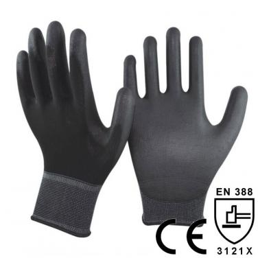 Black Polyester liner Coating PU Palm Glove- PU1350P-BLK