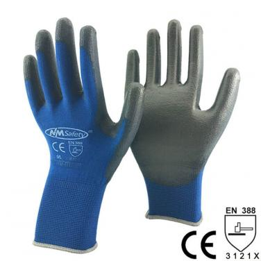 Navy Blue Polyester Dipped Safety Work Protect Glove - PU1350P-NV/BLK