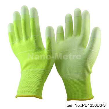 Hi-viz Yellow Polyester Safety hand gloves manufacturer - PU1350U3-GN