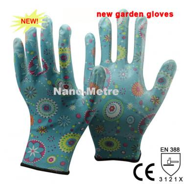 Flower Print Polyester Liner Coated Nitrile Glove -NY1350FP