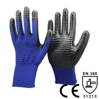 Blue U3 Polyester Liner Coated Black Nitrile Palm Glove - NY1350U3P-B/BLK