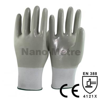White Nylon Liner Full Coated Grey Nitrile on palm glove- NY1359-LG