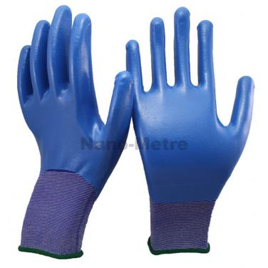 18 Gauge Navy Blue Nylon Liner Full Coated Nitrile Palm Glove- NY1859-NV/B