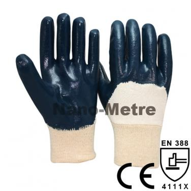 Blue Nitrile 3/4 Dipped Chemical Glove With Anti-oil Function - NBR1230-B