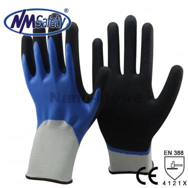 13 Gauge Nylon Full Coated Smooth Nitrile Waterproof  Work Glove - NY1359DC-B/BLK