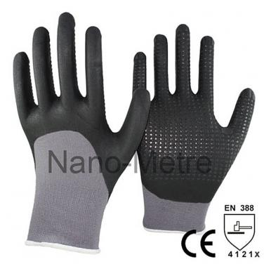Black Foam Nitrile With Dotted On Palm Safety Protective Glove -NY1355FD-BLK