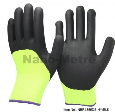 Double Layers Liner Super Warm Cold Resistant Weather Work Glove- NBR1355DS-HY/BLK