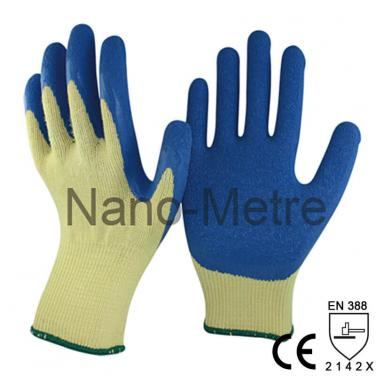 10 Gauge Yellow Polycotton Coated Rubber Crinkle Working Glove -NM10902-Y/B