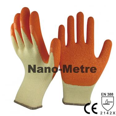 Orange Latex Dipping Yellow Polycotton Construction Glove -NM10902-Y/OR