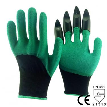 Green Foam Latex 3/4 Dipped Palm With 4 Claws In Finger Garden Glove -NM1355F-CL