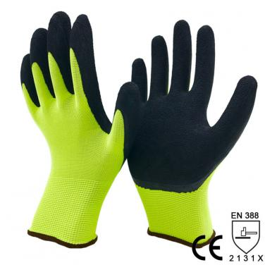 13G Hi-viz Yellow Nylon Liner Coated Foam Latex Palm Anti-Slip Glove -NM1350F-HY/BLK