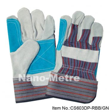 Cow split leather reinforced palm work gloves - CS603DP