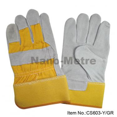 Yellow cow split leather protective gloves- CS603