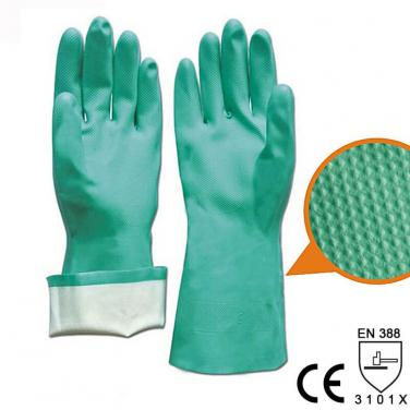 Nitrile Full Coated Glove With Diamond Grip Palm - US11205